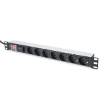 Digitus aluminum outlet strip with switch, 7 safety outlets, 2 m supply with surge protection