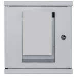 """Intellinet Network Cabinet, Wall Mount (Standard), 6U, 300mm Deep, Grey, Assembled, Max 60kg, Metal & Glass Door, Back Panel, Removeable Sides, Suitable also for use on a desk or floor, 10"""", Parts for wall installation not included, Three Year Warranty"""