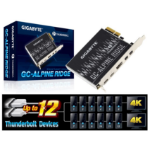 Gigabyte Alpine Ridge V2 Dual Thunderbolt 3 Card for H270 Z270 Z370 X299 Series 3 Ports USB-C 40 Gb/s Display