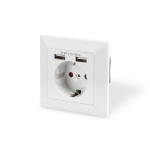 Digitus Safety socket for flush mounting with 2 USB ports