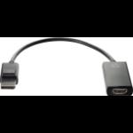 HP 2JA63AA video cable adapter DisplayPort HDMI Typ A (Standard) Schwarz