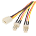 Astrotek Fan Power Cable 20cm - 2x3pin Male to 3 pins Female - for Computer PC Cooler Extension Connectors Bl