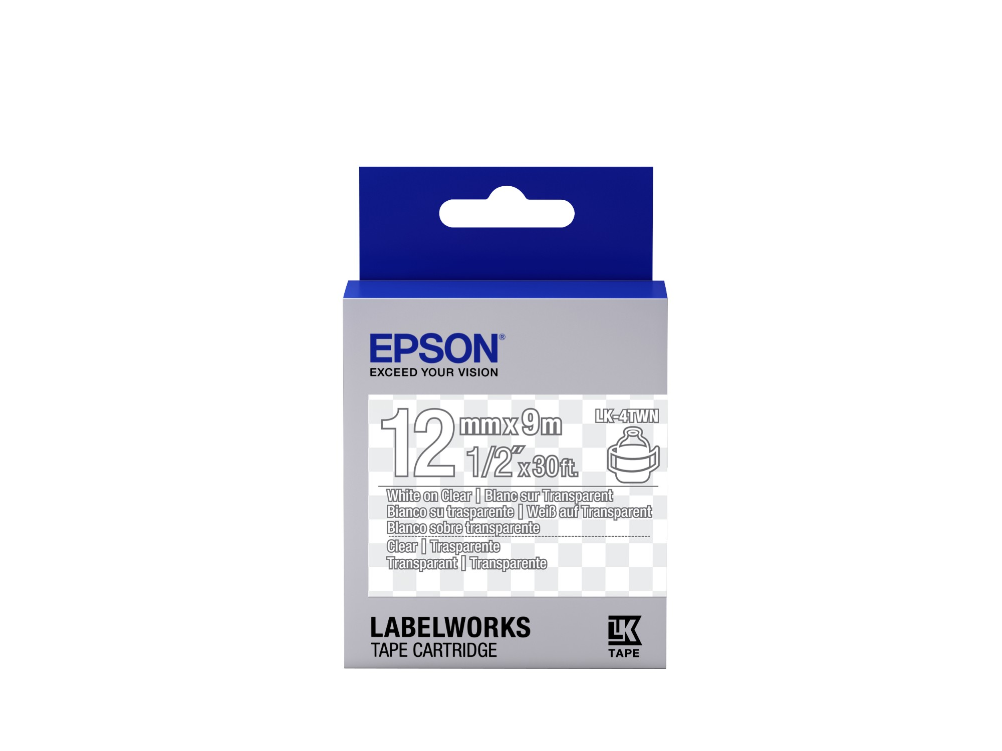 Epson Transparent Tape - LK-4TWN Clear White/Clear 12/9