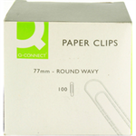 Q-CONNECT 77MM ROUND WAVY PAPERCLIPPK100