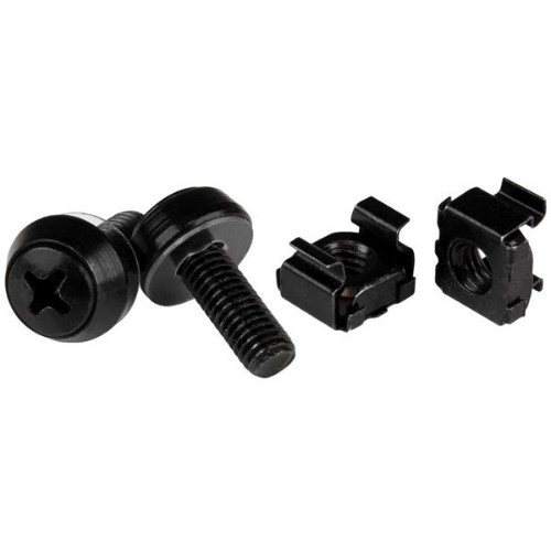 StarTech.com M6 x 12mm - Screws and Cage Nuts - 100 Pack, Black