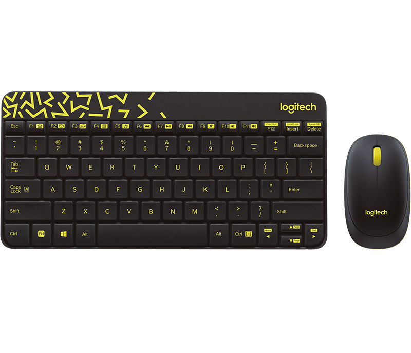 Logitech MK240 NANO keyboard RF Wireless Hebrew Black, Yellow