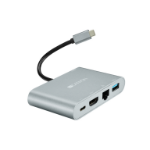 Canyon CNS-TDS04DG interface hub USB 3.2 Gen 2 (3.1 Gen 2) Type-C 100 Mbit/s Grey, Silver