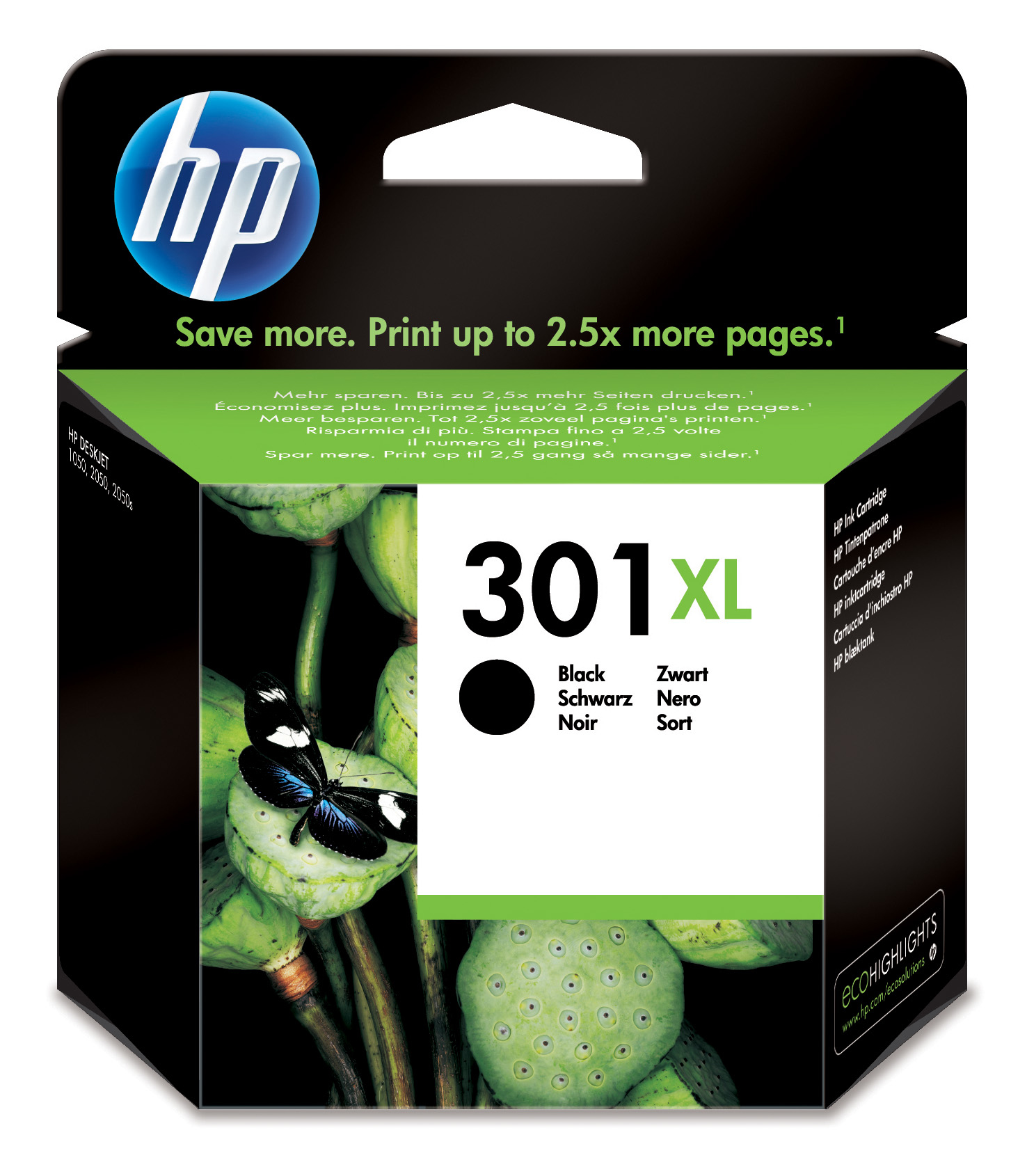 HP 301XL Black Ink Cartridge Original Negro
