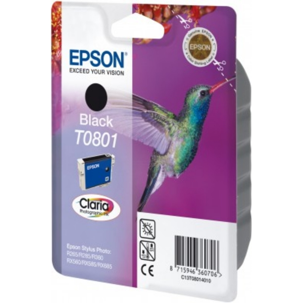 Epson C13T08014011 (T0801) Ink cartridge black, 330 pages, 7ml