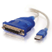 C2G USB 1284 DB25 Parallel Printer Adapter USB-A Azul
