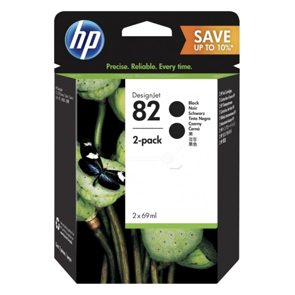 HP P2V34A (82) Ink cartridge black, 1.75K pages, 69ml, Pack qty 2