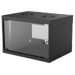 """Intellinet Network Cabinet, Wall Mount (Basic), 6U, 400mm Deep, Black, Flatpack, Max 50kg, Glass Door, 19"""", Parts for wall installation not included, Three Year Warranty"""