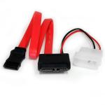 StarTech.com 30 cm Slimline SATA naar SATA Adapter met LP4 Voedingskabel