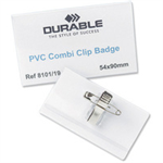 Durable PVC Combi Clip Name Badge