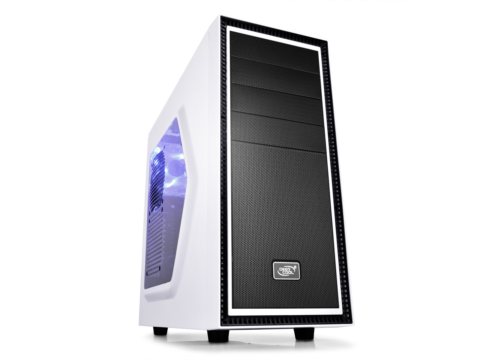 Deepcool Tesseract SW Mid Tower Case Side Window Includes 1 Blue 120mm LED Fan, White
