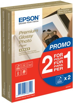 Epson Premium Glossy Photo Paper - (2 for 1), 100 x 150 mm, 255g/m², 80 Sheets
