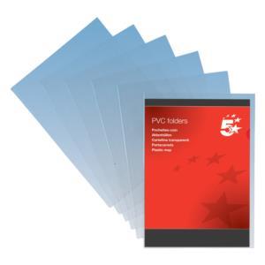 5 Star Folder PVC Cut Flush A4 Clear [Pack 100]