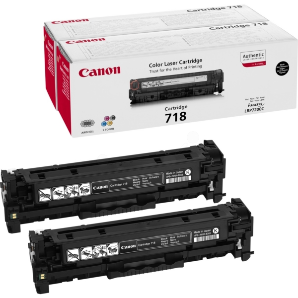 Canon 2662B005 (718BKVP) Toner black, 3.4K pages @ 5% coverage, Pack qty 2
