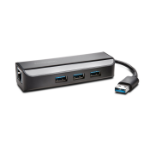 Kensington UA3000E USB 3.0 Ethernet Adapter & 3-Port Hub — Black