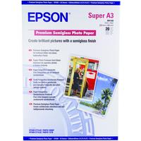 Epson Premium Semigloss Photo Paper, DIN A3+, 250g/m², 20 Sheets