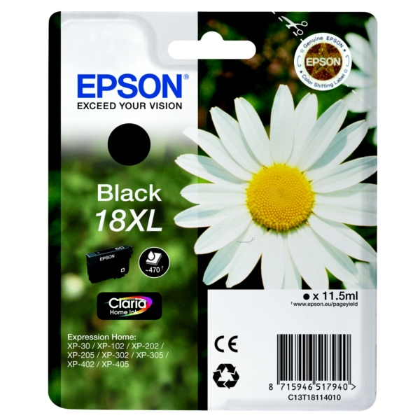 Epson C13T18114012 (18XL) Ink cartridge black, 470 pages, 12ml