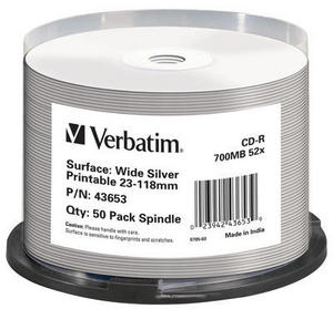 Verbatim CD-R Wide Silver Inkjet Printable No ID Brand