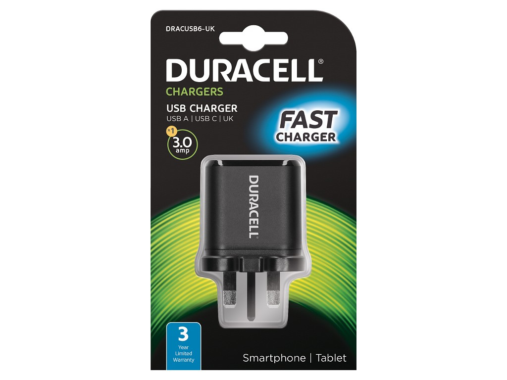 Duracell Type-C & Type-A Mains Charger