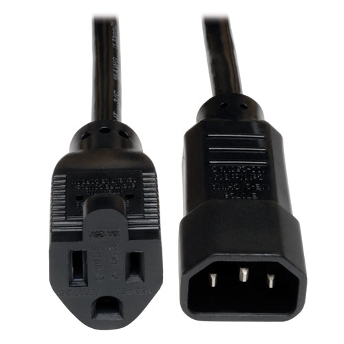 Tripp Lite Universal AC Power Adapter Cord Lead Cable, 10A, 18AWG (IEC-320-C14 to NEMA 5-15R), 0.31 m (1-ft.)