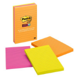 Post-It Super Sticky Notes, 4 in x 6 in, Rio de Janeiro Collection, Lined, 3 Pads/Pack, 90 Sheets/Pad self-adhesive note paper