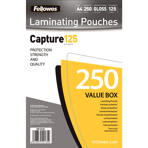FELLOWES A4 GLOSSY 125 MICRON LAMINATING POUCH VALUE PACK