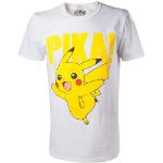 Pokémon Pikachu Pika! Raised Print Men's T-Shirt, Large, White (TS408066POK-L)