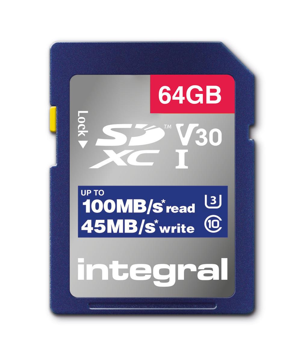 Integral INSDX64G-100V30 64GB SD CARD SDXC UHS-1 U3 CL10 V30 UP TO 100MBS READ 45MBS WRITE memory card UHS-I