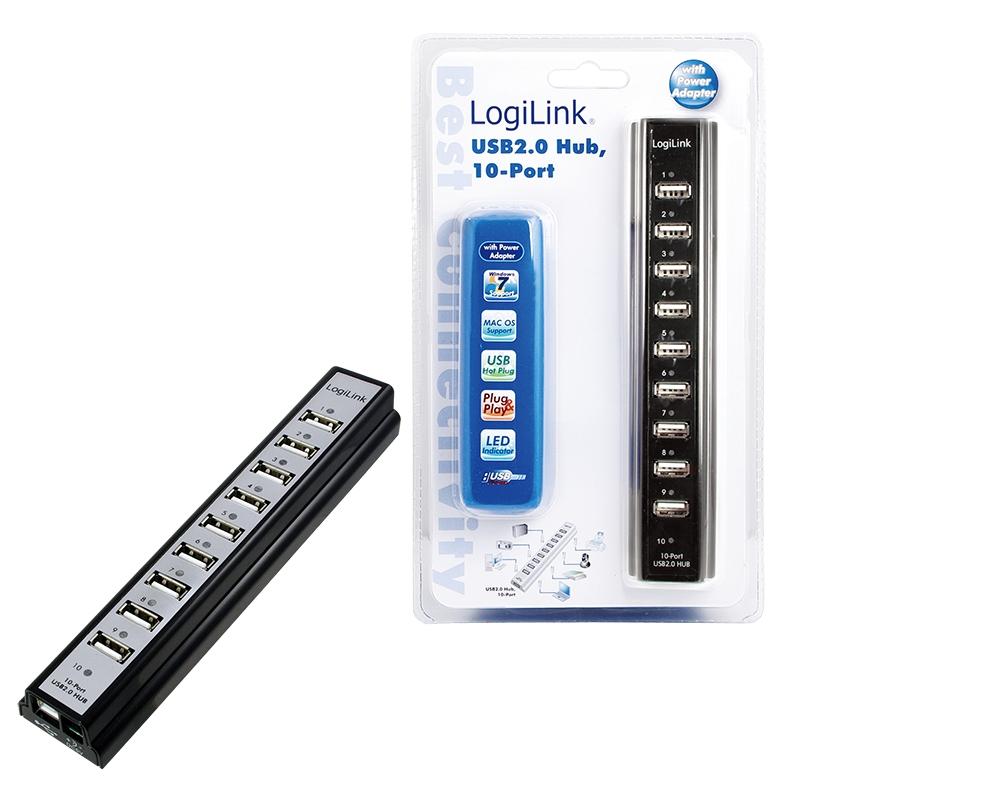 LogiLink UA0096 480Mbit/s Black interface hub