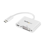 StarTech.com USB C to DVI Adapter with Power Delivery - 1080p USB Type-C to DVI-D Single Link Video Display Converter w/ Charging - 60W PD Pass-Through - Thunderbolt 3 Compatible - White