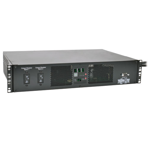 Tripp Lite TAA-Compliant 7.4kW Single-Phase ATS/Metered PDU, 230V Outlets (16 C13 & 2 C19), 2 IEC 309 32A Blue Cords, 2U Rack-Mount