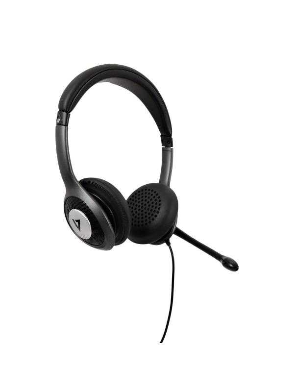 V7 Auriculares Deluxe USB-C con micrófono cancelador de ruidos, control de volumen, auriculares digitales, ordenador portátil, Chromebook, ordenador de escritorio - Negro, gris