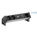 Bachmann Desk 2 Alu power extension 2 AC outlet(s) Indoor Aluminium, Black