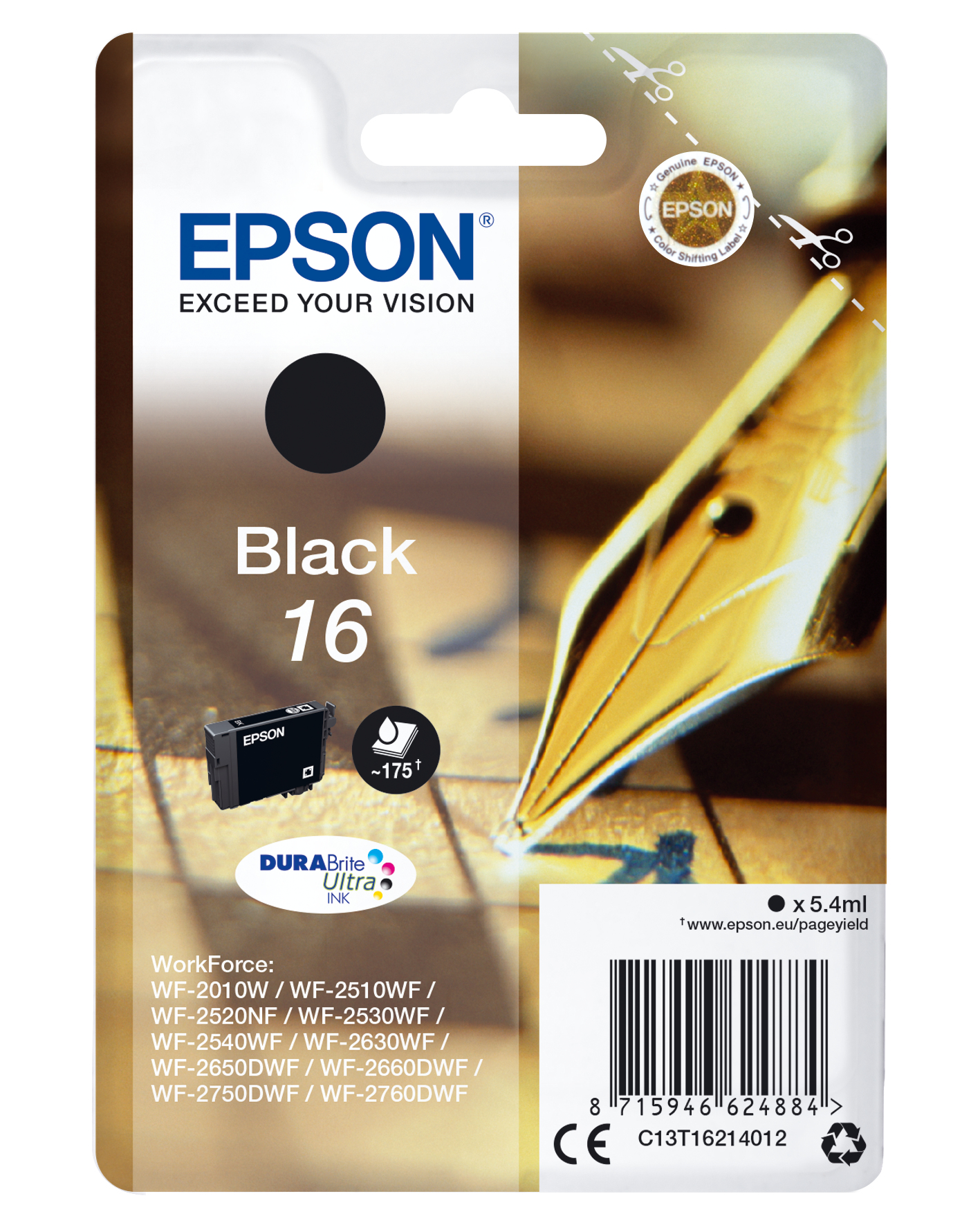 Epson Pen and crossword Singlepack Black 16 DURABrite Ultra Ink
