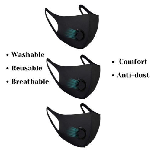 Rapteq 3PC Black Elastic Cotton Face Mask Washable and Reusable with Exhalation Valve