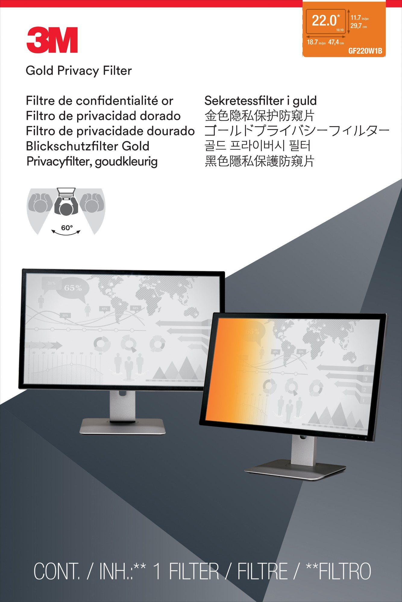 Privacy Flt 22in Ws 16:9 Gold Dt Laptop Gf220w1b