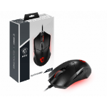 MSI CLUTCH GM08 Optical Gaming Mouse '4200 DPI Optical Sensor, 6 Programmable button, Symmetrical design, Durable switch with 10+ Million Clicks, Weight Adjustable, Red LED'