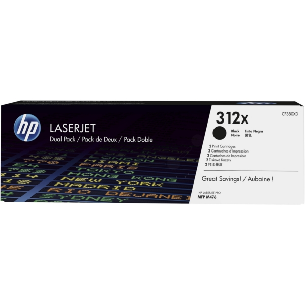 HP CF380XD (312XD) Toner black, 4.4K pages, Pack qty 2