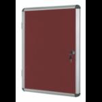 Bi-Office Enclore Burgundy Felt Lockable Noticeboard Display Case 9 x A4 720x981mm DD