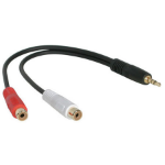 C2G Value Series 3.5mm Stereo Plug/RCA Jack x2 Y-Cable 3.5mm Stereo RCA Jack x 2 Black cable interface/gender adapter