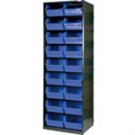 FSMISC Metal Bin Cupboard With 18 Dark Grey Black Polypropylene Bins 371832