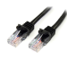 StarTech.com Cable de Red de 0,5m Negro Cat5e Ethernet RJ45 sin Enganches