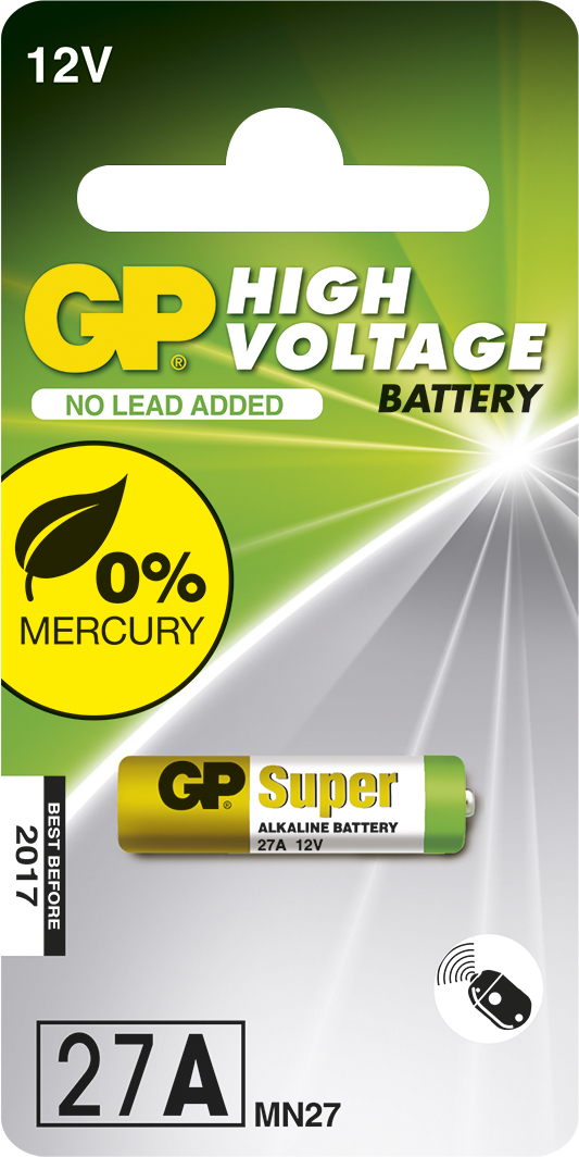 GP Batteries HIGH VOLTAGE 27A Blister with 1 battery. 12V For products like car remotes and lighters