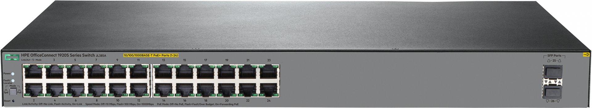 Hewlett Packard Enterprise OfficeConnect 1920S 24G 2SFP PoE+ 370W Gestionado L3 Gigabit Ethernet (10/100/1000) Gris 1U Energía sobre Ethernet (PoE)