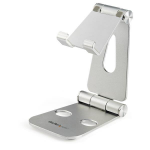 StarTech.com Phone and Tablet Stand - Foldable Universal Mobile Device Holder for Smartphones & Tablets - Adjustable Multi-Angle Ergonomic Cell Phone Stand for Desk - Portable - Silver