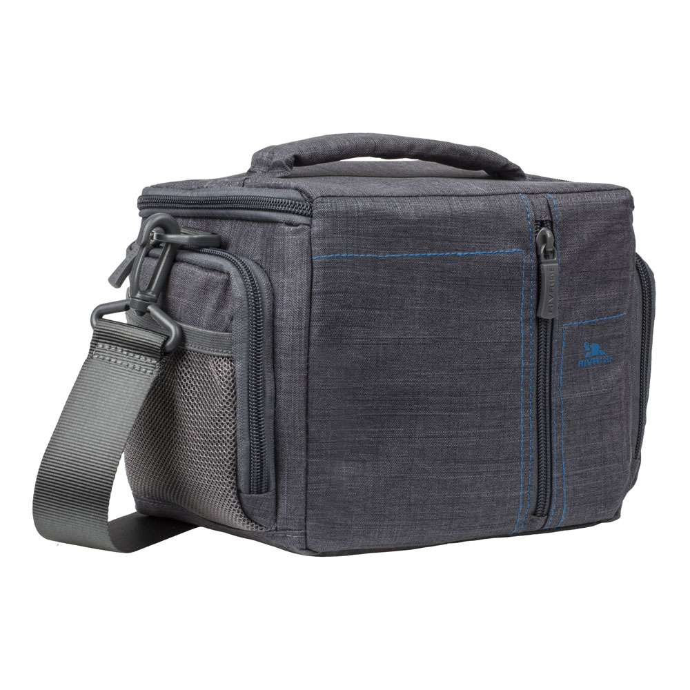 Rivacase 7502 Water-Resistant SLR Polyester Shoulder Bag with Front Pocket and Rain Cover, Grey (690182007502